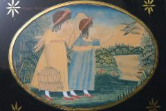 Antique Folk Art School Girl Painting of Unlucky Girls - 1392488