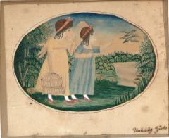 Antique Folk Art School Girl Painting of Unlucky Girls - 1392490
