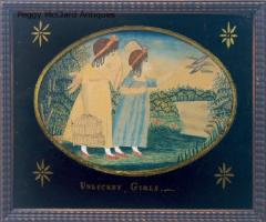 Antique Folk Art School Girl Painting of Unlucky Girls - 1392491