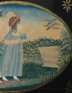 Antique Folk Art School Girl Painting of Unlucky Girls - 1392492