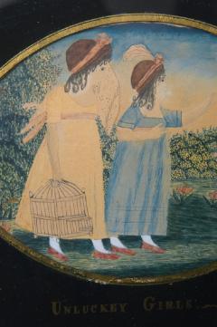Antique Folk Art School Girl Painting of Unlucky Girls - 1392493