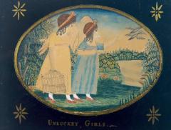 Antique Folk Art School Girl Painting of Unlucky Girls - 1393148