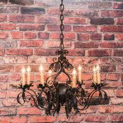 Antique French 8 light Black Iron Chandelier - 933623