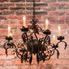 Antique French 8 light Black Iron Chandelier - 933628
