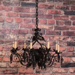 Antique French 8 light Black Iron Chandelier - 962098