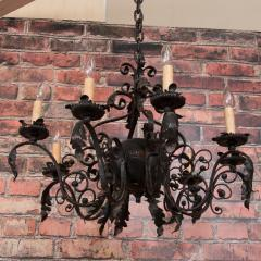 Antique French 8 light Black Iron Chandelier - 962099