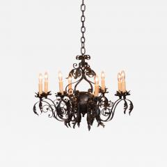 Antique French 8 light Black Iron Chandelier - 981467