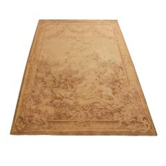 Antique French Cream Beige Wool Tapestry Rug - 1157934