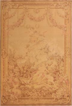 Antique French Cream Beige Wool Tapestry Rug - 1159495
