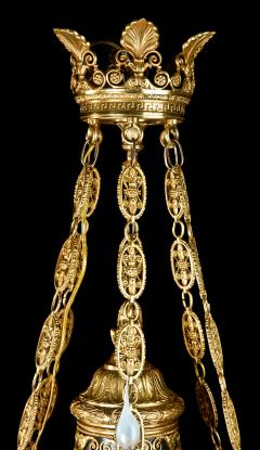 Antique French Empire Neoclassical Gilt and Patina Bronze Eagle Chandelier - 606993