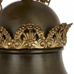 Antique French Empire Style Brown Painted Metal and Gilt Bronze Chandelier - 1937799