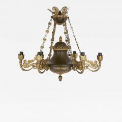 Antique French Empire Style Brown Painted Metal and Gilt Bronze Chandelier - 1938371