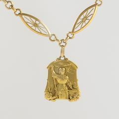 Antique French Gold Long Chain with Joan of Arc Medallion - 1041904