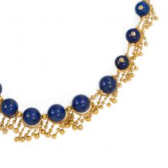 Antique French Gold and Lapis Festoon Necklace - 1162249