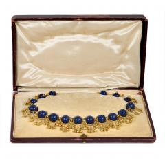 Antique French Gold and Lapis Festoon Necklace - 1162250