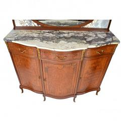 Antique French Louis XV Louis XVI Style Mahogany and Marble Top Buffet - 167733