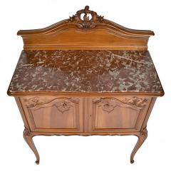 Antique French Louis XV Walnut Marble Top Server Buffet - 163247