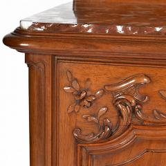 Antique French Louis XV Walnut Marble Top Server Buffet - 163249