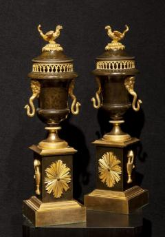 Antique French Pair of Bronze and Ormolu Empire Cassolettes - 1504237