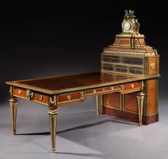 Antique French Parquetry and Bronze Cartonnier Writing Desk with Clock - 620114