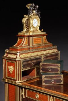 Antique French Parquetry and Bronze Cartonnier Writing Desk with Clock - 620115