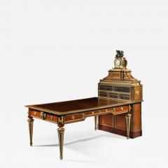 Antique French Parquetry and Bronze Cartonnier Writing Desk with Clock - 621578