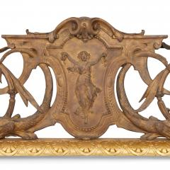 Antique French silvered and gilt bronze fireplace fender - 1577183
