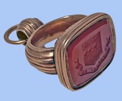 Antique Georgian rose Gold and Carnelian Seal Fob C 1820  - 2112832