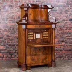 Antique German Mahogany Biedermeier Secretary Desk - 942957