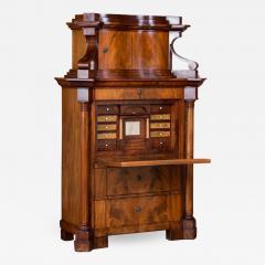 Antique German Mahogany Biedermeier Secretary Desk - 994986