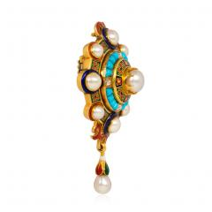 Antique Gold Holbeinesque Pendant Brooch with Pearls Turquoise and Diamonds - 1199529