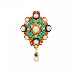 Antique Gold Holbeinesque Pendant Brooch with Pearls Turquoise and Diamonds - 1200930