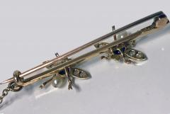 Antique Gold Sapphire Diamond Pearl Fly Bee Brooch English C 1900  - 1118662