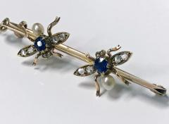 Antique Gold Sapphire Diamond Pearl Fly Bee Brooch English C 1900  - 1118663