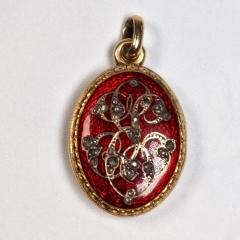 Antique Gold and Diamond Guilloche Enamel Locket - 1178484