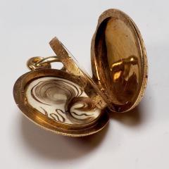 Antique Gold and Diamond Guilloche Enamel Locket - 1178490