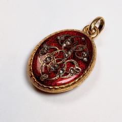 Antique Gold and Diamond Guilloche Enamel Locket - 1178492