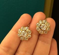 Antique Gold and Old Mine Cut Diamond Flower Cluster Earrings - 2053803