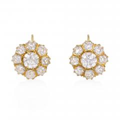 Antique Gold and Old Mine Cut Diamond Flower Cluster Earrings - 2053909