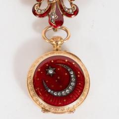 Antique Guilloche Ruby Enamel Diamond and 18 Karat Yellow Gold Lapel Watch - 1612667