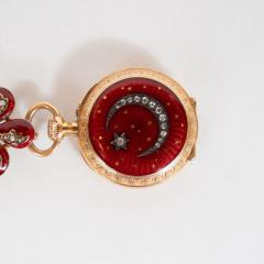 Antique Guilloche Ruby Enamel Diamond and 18 Karat Yellow Gold Lapel Watch - 1612675
