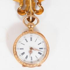 Antique Guilloche Ruby Enamel Diamond and 18 Karat Yellow Gold Lapel Watch - 1612682