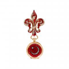 Antique Guilloche Ruby Enamel Diamond and 18 Karat Yellow Gold Lapel Watch - 1618048
