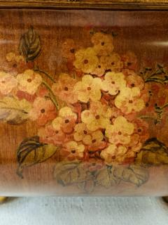Antique Hand Painted Brown Metal Chest or Box with Floral Design - 1553451