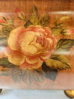 Antique Hand Painted Brown Metal Chest or Box with Floral Design - 1553456