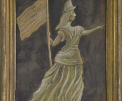 Antique Hand painted Water Color of Lady Liberty - 1713819