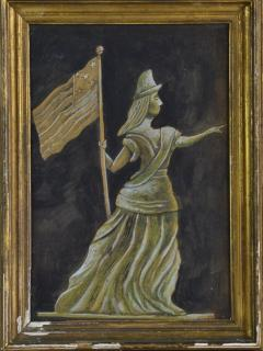 Antique Hand painted Water Color of Lady Liberty - 1713820