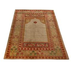 Antique Hereke Gold Beige and Red Floral Silk Rug - 1158517
