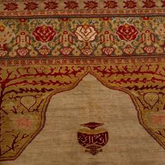 Antique Hereke Gold Beige and Red Floral Silk Rug - 1158518