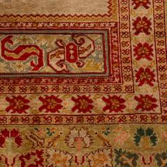 Antique Hereke Gold Beige and Red Floral Silk Rug - 1158519